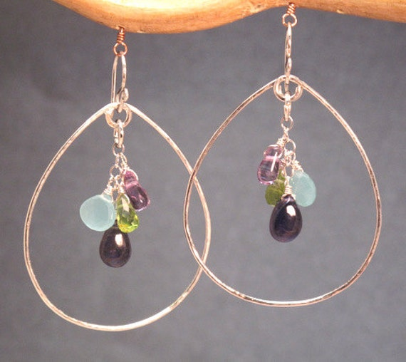 Hammered drops with your choice of stones Siren 4