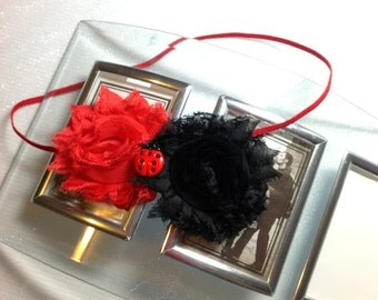 Lady Bug Headband, Red and Black Shabby Chic Flowers on a Skinny Elastic Headband with a Lady Bug Embellishment , Infant to Adult