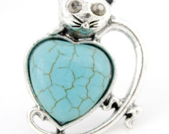 New Silver-tone Natural Turquoise Stone CAT Ring,Adjustable