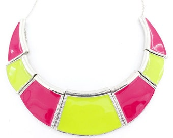 Special Cool Silver-tone Green/Pink Funky Enamel Statement Necklace