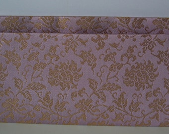 Fukusa basami flat wallet, lilac and gold silk brocade