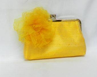 Yellow Silk with black feathers and netting