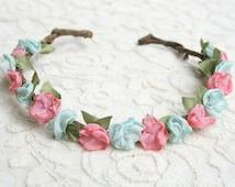 Pink and Aqua Flower Crown Headband, boho, romantic, bridal, fashion, bark vine, wreath, woodland, rustic, halo, fairytale