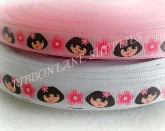 Ribbon by the Yard Dora pink white 3/8 grosgrain ribbon character ribbon -Hair bows scrapping WHolesale by Ribbon Lane Supplies