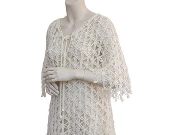 cream tunic,hand crochet tunic, size S-M-L tunic, tunic women