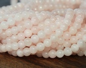 Mountain Jade Beads, Blush Pink, 4mm Round - 16 Inch Strand - eMJR-A01-4