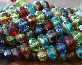 Czech Glass Rondelle Beads, Picasso Multicolor Mix, 9x6mm - 25 pcs - eT15-96
