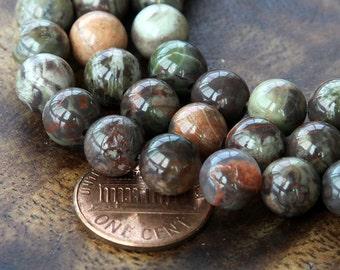 Ocean Jasper Beads, 8mm Round - 15 inch strand - eGR-JA005-8