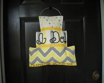 Burlap Wedding Cake Door Hanger: Gray and Yellow Chevron