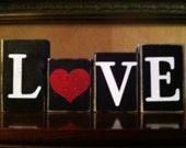 Valentine's Day - Wood LOVE Blocks- Valentines day Blocks - Seasonal Winter Home Decor- fireplace mantel decor - bookshelf decor