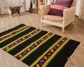 6.23ftx3.60ft, Striped Tribal Kilim Rug,Vintage Hand Woven Rug , Pure Organic Wool Kilim Rug, Oriental Rug Runner