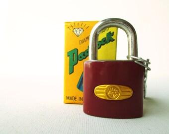 Vintage retro deep red padlock miniature lock and key