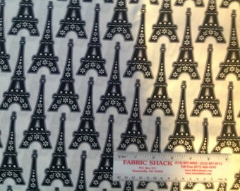 Paris THE EIFFEL TOWER or La Tour Eiffel -   rare  Sold by the yard quilt fabric