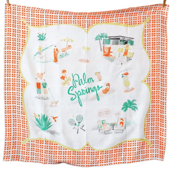 """The Un-Tourist Scarf: Palm Springs // Silk Scarf, Vintage Inspired, 36"""" Square"""