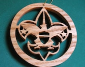 Boy Scout ornament, handcrafted of red oak