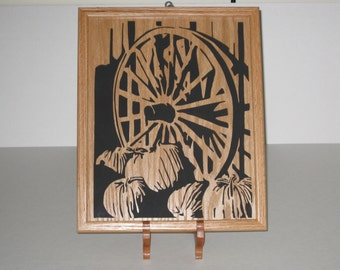 Wagon Wheel with Pumpkins Framed Scroll Saw Picture