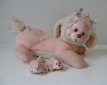 Hasbro Puppy Surprise 1991 Pink Plush Rubber Face Dog Mommy 2 Baby Puppies E188s