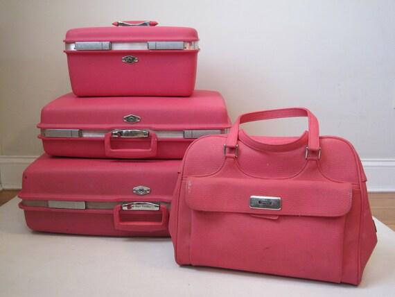 Vintage Luggage Set Pink Vinyl Nesting Four Piece Suitcase Set