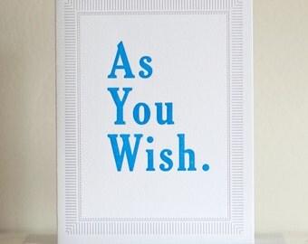 As You Wish Princess Bride Letterpress Card, Anniversary Card, Valentines Day Card, Princess Bride Print, I Love You