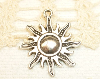 Radiating Sun Charms, Antique Silver (6) - S124