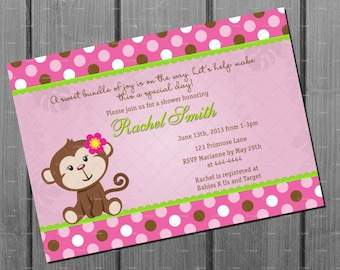 Pink Monkey Baby Shower Invitation and FREE Thank You Card Printable DIY - Girl Baby Shower Invite