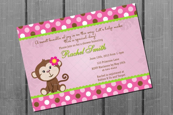 Baby Shower Girl Monkey Invitations ~ Pink monkey baby shower invitation and free thank you card