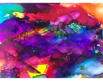 P58 - Colorful Blank Ar Postcard of my Abstract Painting