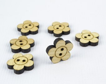 6pcs Large Wooden Buttons 30mm / Laser Cut / Beads