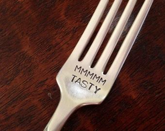 MMMmm  Tasty,    recycled  vintage silverware hand stamped fork