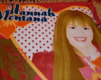 Hannah Montana Fleece Tie blanket w/ brown backside