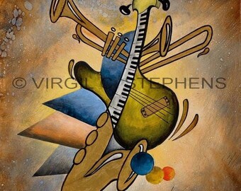 Music art, Variations, giclee print from the original oil painting of music, musical instruments, guitars,horns, keyboards