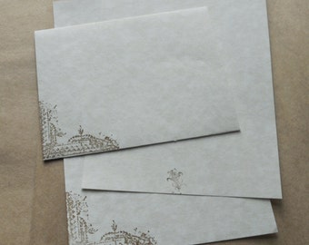 Parchment paper stationery set. Writing paper hand stamped with shabby, old world theme, set of 30.
