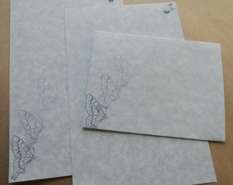 Blue parchment paper stationery set. Writing paper hand stamped with blue butterflies, set of 30.