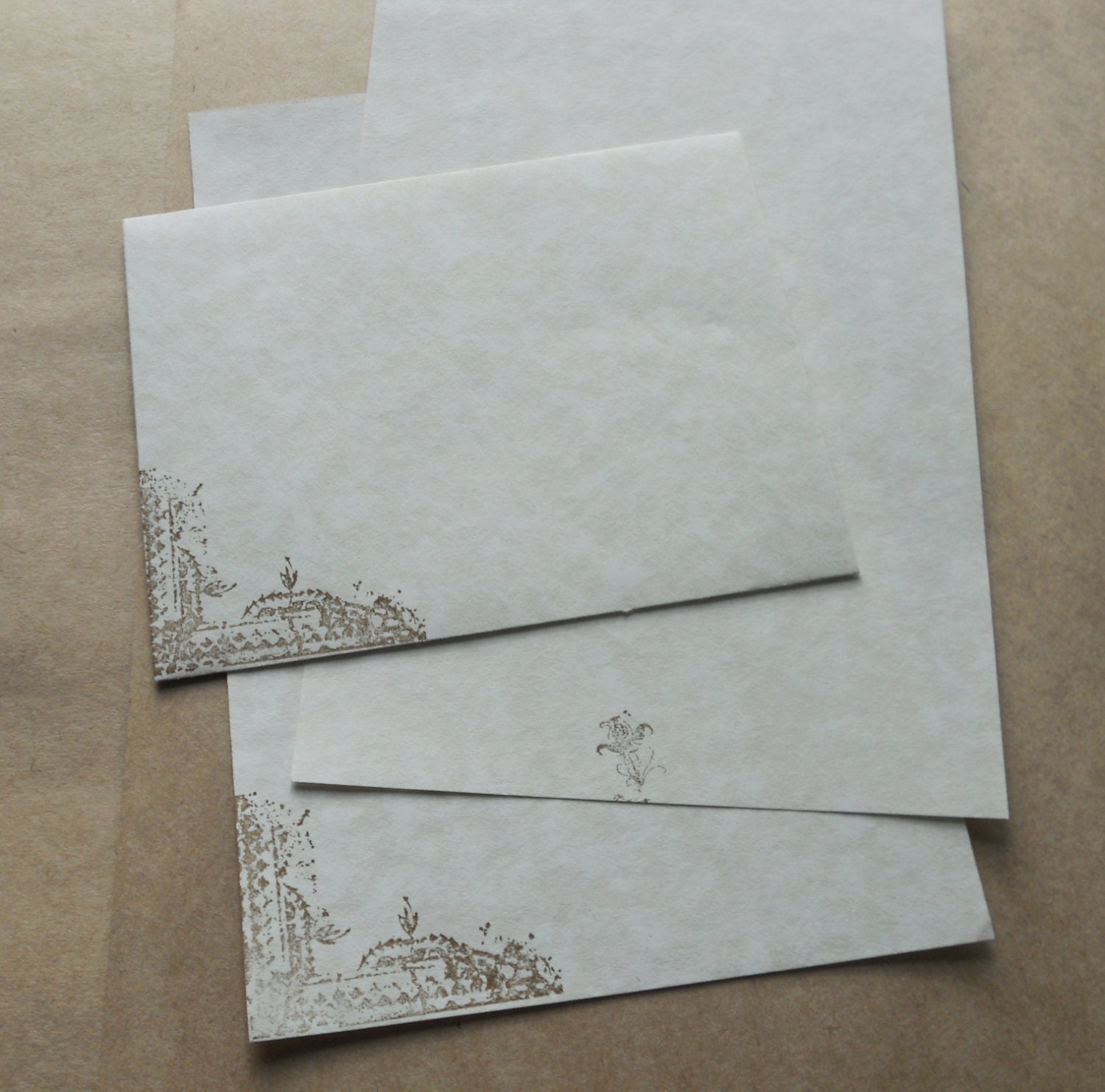 Parchment paper stationery set. Writing paper hand stamped