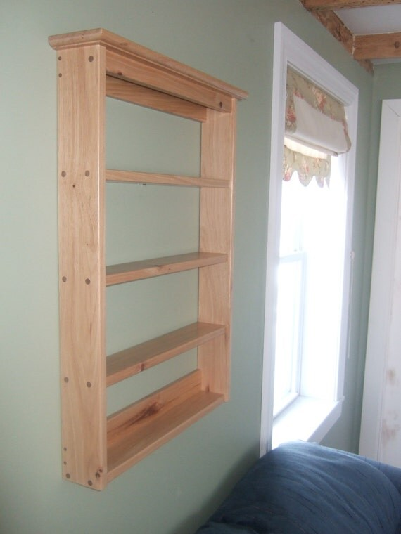 Items Similar To Small Wood Wall Mounted Spice Rack On Etsy