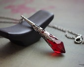 Red crystal necklace glass prism pendulum ruby color ornate long silver tone victorian witch costume gothic jewelry