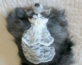 Pet Wedding Veil Made to Order for Small Dogs and Cats - Ivory Lace w/Floral Trim