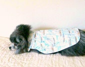 Shirt for Cats and Small Dogs - White, Sky Blue & Taupe Cotton w/Boat Print - I Will Customize for Proper Fit