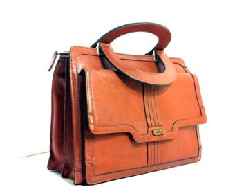 REDUCED~ 70s Leather Handbag Satchel - Mini Brief Case - Messenger Bag