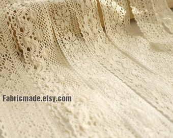 Cotton Lace  Fabric Trim Bundle- Beige Cream Floral Crochet Cotton Net Lace Ribbon Trim 7 Designs Set 14 Yards