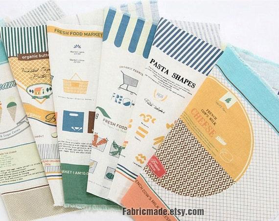 "Panel Cotton Linen Fabric, Illust Cut Linen Fabric, Fresh Food Market Pattern 4 Cuts Fabric- 35'X55"" / 88 x 140cm"