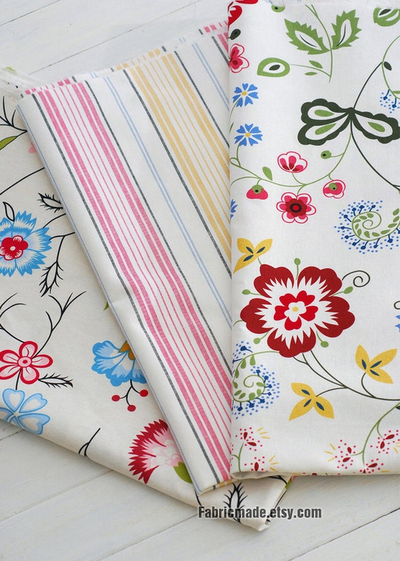 Shabby Chic Linen Cotton Fabric Bundle, Stripe Flower Fabric Bundle, Fat Quarter Bundle- Sets for 3 each 50cm x 70cm