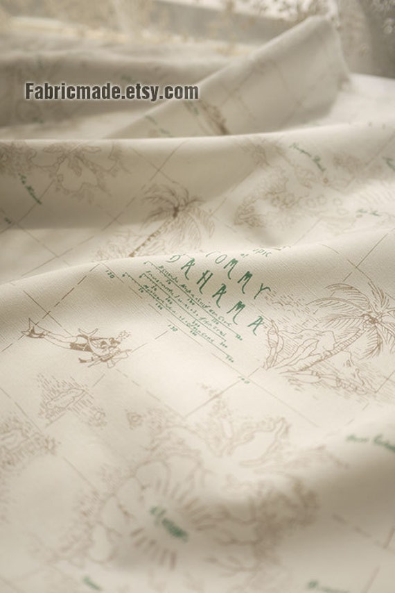 """Shirt Fabric White Fabric with Bahama Treasure Map, White Cotton, Pencil freehand sketching Style - 1/2 yard 18""""x59"""""""
