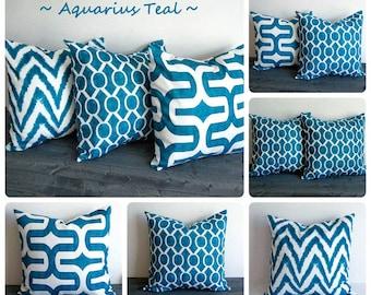 Teal pillow cover One cushion cover Aquarius Teal blue green throw pillow sham