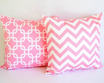 Pair of throw pillow covers cushion covers baby pink throw pillow covers bubblegum pink nursery decor