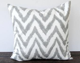 "Gray chevron ikat pillow cover One 18"" x 18"" cushion cover gray throw pillows Diva home decor"