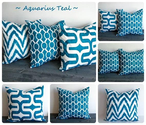 teal pillow cover one cushion cover aquarius teal blue green throw pillow sham - Teal Decorative Pillows
