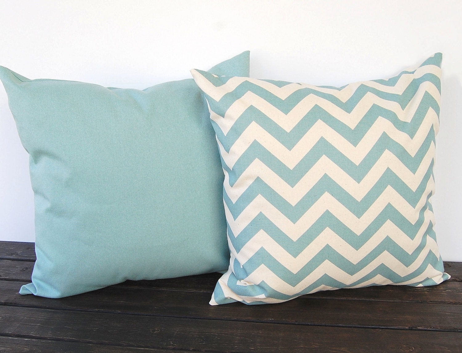 Smokey Blue Throw Pillows : Throw pillow covers pair chevron cushion cover by ThePillowPeople