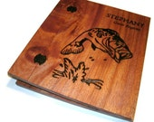 Wooden Guest Registry - Album Holds Standard 8.5x11 Pages - Custom Woodburnt With Your Design