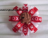 Valentine's Day Bows Pink Red White Hair bows Girls Valentine's Day Hair Clip Puppy Dog Bow Girls Puppy Bow Love Hearts One of a Kind Bow